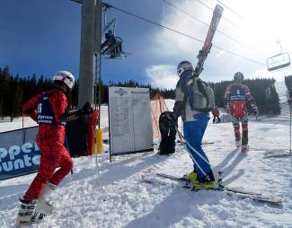 Racers check out the final standings after the Copper Business League race series giant slalom on Feb. 18. The regular race series takes place most Thursdays until the end of March, beginning at 10 a.m.