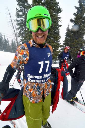 Lifelong Copper resident Eric Malmgren shows off his Hawaiian duds for the Copper Business League race series giant slalom on Feb. 18.