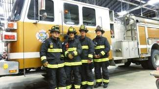 Members of Copper Mountain Fire Department show off their new black and lime green turnout gear, as well as new leather helmets. The new gear was purchased by the department to promote greater visibility when responding to emergencies, especially those on Summit County highways.
