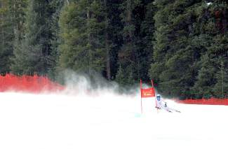 Vail Ski and Snowboard Academy skier River Radamus during the super-G race at the 2016 USSA U-19 Junior Championships at Copper.