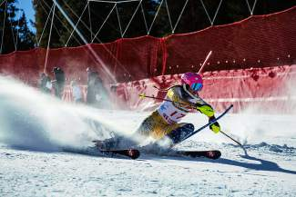Summit-based skier Rosie Hust on the slalom course at the 2016 U.S. Ski and Snowboard Association U-19 Junior Championships at Copper Mountain.