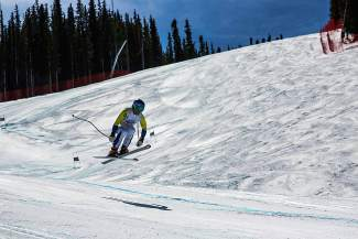 Michale Macedo on the downhill course at the 2016 U.S. Ski and Snowboard Association U-19 Junior Championships at Copper Mountain.