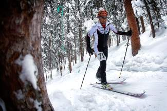 A competitor powers through trees about halfway through the 2015 Uphill/Dowhill Challenge race at Copper. The event returns this year with an industry race and Cosmic Ski Mountaineering Cup race, both held at 2 p.m. on Feb. 1.