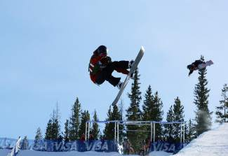 A pair of snowboarders air out of Copper Mountain Resort's superpipe last week during U.S. Grand Prix halfpipe training. Competition moved over the Tenmile Range to Breckenridge this week  for the 2014 Dew Tour which starts Wednesday.