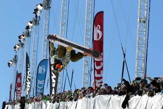 Truckee's Danny Davis airs out of the halfpipe during last year's Dew Tour finals at Breckenridge. Davis will join an all-star cast of snowboarders and skiers in this year's event.