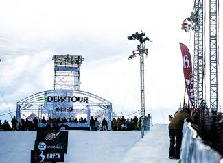 Snowboarder Shaun White gets massive air on his first hit in the Breckenridge superpipe at the 2012 Dew Tour. White hasn't competed in Breckenridge since 2013, when he qualifed first in slopestyle before pulling out with an injury.