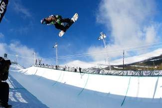 2010 Olympian Louie Vito airs out of the superpipe in the final round of the 2013 Dew Tour. Vito, a longtime veteran of the competition circuit, returns this year for the men's snowboard superpipe today and Saturday.