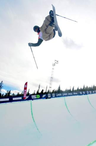 Kyle Smaine of South Lake Tahoe tweaks an air during practice before the men's freeski superpipe semifinals at Dew Tour in Breckenridge on Dec. 11.