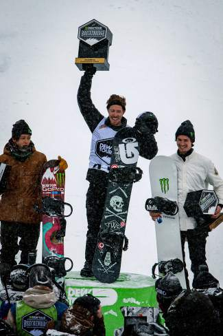 The podium at the men's Dew Tour snowboard halfpipe final (from left): Ayumu Hirano, Shaun White, Iouri Podladtchikov. After a no-show at X Games Oslo this past week, White was confirmed for the Burton U.S. Open in Vail this coming weekend.