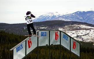 Telluride's Gus Kenworthy goes up and over the A-frame rail during the Dew Tour men's slopestyle semifinals at Breckenridge Ski Resort on Dec. 10.