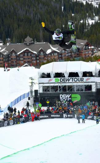 Unity Snowboards rider Taylor Gold, of Steamboat Springs, tweaks a tuck-knee grab during his first run at the men's snowboardhalfpipe semifinals at Dew Tour in Breckenrige on Dec. 10. Gold took second place behind Shaun White heading into the final on Dec. 12 at 12:30 p.m.