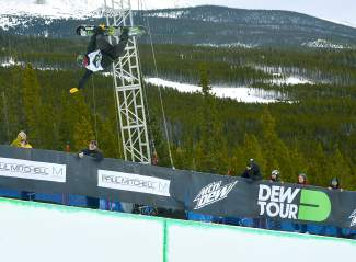 Taylor Gold of Steamboat Springs stalls out in the middle of a huge 900 during his first run at the men's snowboard halfpipe semifinal at the Dew Tour in Breckenridge on Dec. 10. Gold, the defending Dew Tour champion, took second behind Shaun White.