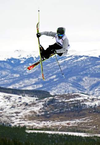 Canada's Evan McEachran floats over the second jump during the Dew Tour men's slopestyle semi-finals at Breckenridge Ski Resort Dec. 10. Slopestyle finals begin at 11:30 a.m. on Dec. 13.