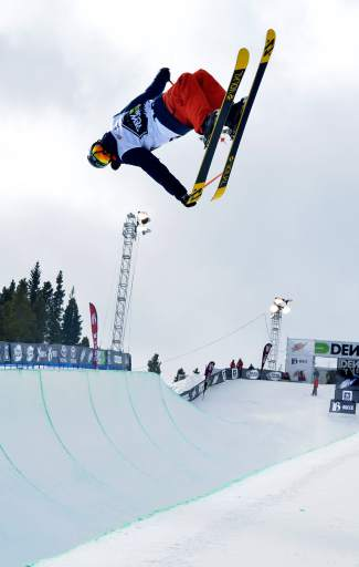 Young Jaxin Hoerter of Breckenridge leans into an inverted tail grab during practice before the men's freeski superpipe semifinals for Dew Tour on Dec. 11. Hoerter earned his first invite to an X Games competition about two weeks ago and is now in Oslo for halfpipe Feb. 28.