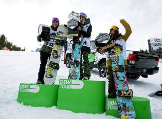 The Dew Tour women's snowboard slopestyle podium: First: Anna Gasser, Second: Spencer O'Brien, Third: Hailey Landland.