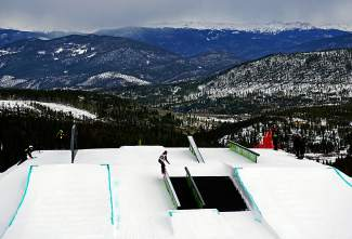 Dew Tour slopestyle athletes have a choice of which rail feature to hit on the course at Breckenridge Ski Resort.