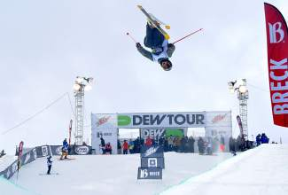 Lyman Currier of Boulder gives the Michael Jordan tongue halfway through an inverted 900 during practice before the Dew Tour men's freeski semifinal at Breckenridge on Dec. 11. Currier qualifed for today's final, beginning at 4 p.m.