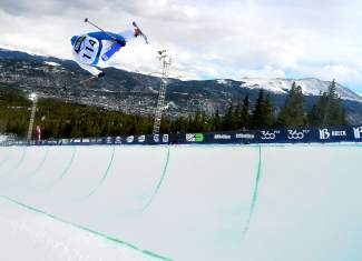 Thomas Krief of France tweaks through a 900 during practice before the men's freeski superpipe semifinal at Dew Tour in Breckenridge on Dec. 11.