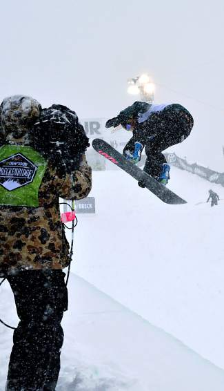 Steamboat Springs rider Arielle Gold spins for the TV audience during the women's Dew Tour snowboard halfpipe final on Dec. 12. Gold, who finished first in qualifers, took fourth behind Jiayu Liu, Chloe Kim and Kelly Clark.