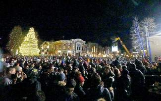 Spectators gather on Main Street in Breckenridge to watch the Dew Tour streetstyle competition Friday.