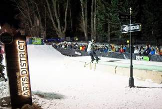 A skier competes in the Dew Tour streetstyle competition on Washington Avenue in Breckenridge Friday.