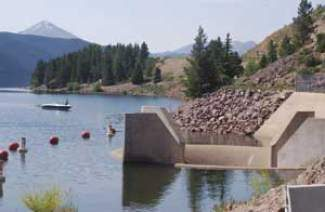 In this file photo, a lone angler tries his luck near the Glory Hole of Dillon Reservoir. Denver Water will start a maintenance project Monday, July 7, to restore 50-year-old parts of the dam.