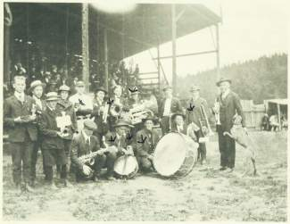 The band and a couple members of the baseball team at the Breckenridge ball field.