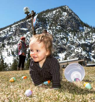 One of the smallest egg hunters crawls for treasure at Frisco Historic Park during the town's annual Easter egg hunt last year. The event returns this year to Frisco with 5,000 eggs for kids ages 8 and younger.