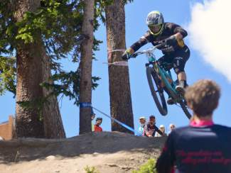 Enduro World Series world champ Richie Rude drops in for Run Two of the 2016 Keystone Big Mountain Enduro. The annual event drew more than 300 pro and amateur riders to the Keystone Bike Park for six stages of downhill riding on berms, drops and boulders.