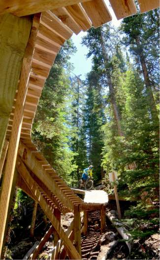 The intidmidating corkscrew feature on lower Sanitarium at the 2016 Keystone Big Mountain Enduro on July 9. The annual event drew more than 300 pro and amateur riders to the Keystone Bike Park for six stages of downhill riding on berms, drops and boulders.