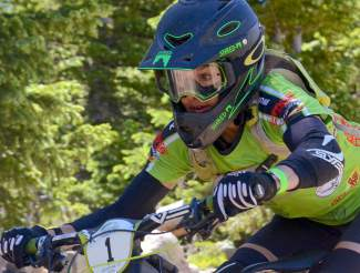 Female pro Krista Rust on the course at the 2016 Keystone Big Mountain Enduro on June 9. The annual event drew more than 300 pro and amateur riders to the Keystone Bike Park for six stages of downhill riding on berms, drops and boulders.
