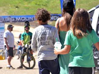 Words to live by at the 2016 Keystone Big Mountain Enduro. The annual event drew more than 300 pro and amateur riders to the Keystone Bike Park for six stages of downhill riding on berms, drops and boulders.