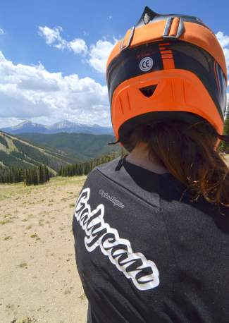 Idaho enduro pro Anne Gaylean looks out across North Peak at Keystone Mountain the day before the 2016 Keystone Big Mountain Enduro. This year marks the first time Gaylean, a Ph.D. graduate in chemical engineering, has raced at Keystone — or anywhere in Colorado.