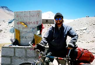 Summit local Brian Brill at north Mount Everest base camp in 1998. He believes he was one of the first people to make the trip on the Tibetan side.