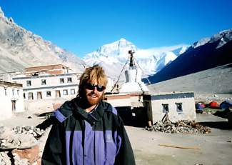Brian Brill at the monastary just outside of the north Mount Everest base camp in Tibet. Brill believes he became one of the first mountin bikers to make the trip when he completed it in 1998.