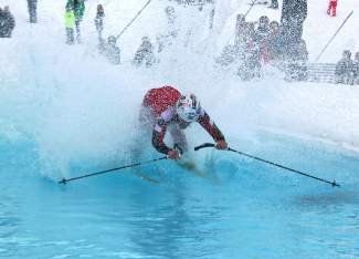 A pond skimmer takes a dive in the drink during Keystone's annual closing day Slush Cup in 2015. The resort closed for the season on April 10, nearly two weeks before Copper and Breckenridge this Sunday, April 24.