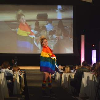 Models donned rainbow colors for the Pride section of the FIRC Fahion Show.