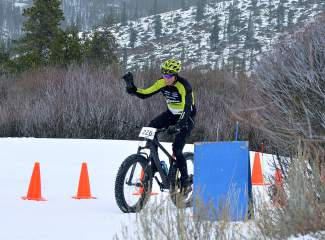 Mountian Bike Hall of Famer Dave Wiens crosses the finish line in second at the inaugural Fat Bike Open at Gold Run Nordic Center on Dec. 5. The race drew nearly 70 riders from across the state, including several pros.