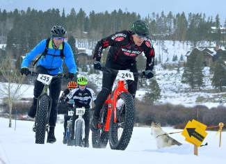 Riders battle up a hill during the inaugural Fat Bike Open at Gold Run Nordic Center on Dec. 5. The public race returns to the Nordic center on Jan. 15, with demos beginning at noon and the all divisions leaving the start line at 5 p.m.