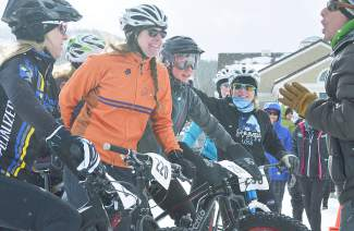 Jeff Westcott of Meverick Sports gives a bit of inspiration to the ladies of the women's open division at the inaugural Fat Bike Open at Gold Run Nordic Center on Dec. 5. The race drew nearly 70 riders from across the state, including several pros.