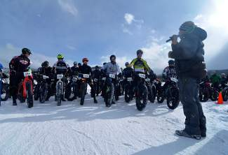 Jeff Westcott of Maverick Sports preps the men's open division before the start of the inaugural Fat Bike Open at Gold Run Nordic Center on Dec. 5. The public race returns to the Nordic center on Jan. 15, with demos beginning at noon and the all divisions leaving the start line at 5 p.m.