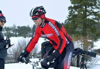 Colorado Springs pro Brad Bingham crosses the finish line first at the inaugural Fat Bike Open at Gold Run Nordic Center on Dec. 5. The race drew nearly 70 riders from across the state, including several pros.