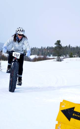 A rider rounds a corner during the inaugural Fat Bike Open at Gold Run Nordic Center on Dec. 5. The race drew nearly 70 riders from across the state, including several pros.