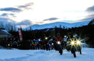 Riders take off from the start line at Gold Run Nordic Center for the Ullr Bike fat bike race in January 2015. The public race returns to the Nordic center on Jan. 15, with demos beginning at noon and the all divisions leaving the start line at 5 p.m.