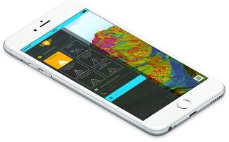 The topographical map menu in the FATMAP app. The app is available for iPhone and Android smartphones.