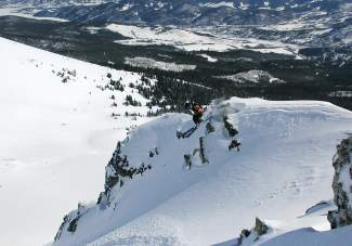 Eric Draper, 14, charges off of a drop  during a practice run at the 2014 GoPro Big Mountain Challenge at Breckenrige Ski  Resort. FATMAP, a new app with topographical maps of local ski resorts, is made to get a 3D view of intimidating terrain.