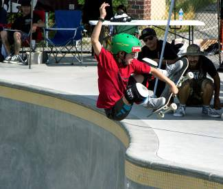 Young Jake Canter hucks a nasty frontside air to the delight of spectators at the fifth-annual Chris Ferris Memorial Skate Competition on Aug. 29 at the recently completed Breckenridge skatepark.