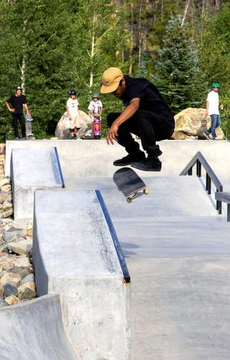 A local skater tosses a kickflip to frontside 50-50 at the Chris Ferris Memorial Skate Competition on Aug. 29.