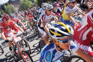 Riders in the men's pro/elite division take off at the Main Street starting line for the 2012 Firecracker 50 mountain bike race in Breckenridge. The race returns to town on July 4 this year and regularly draws top-level pros from across the state and region.