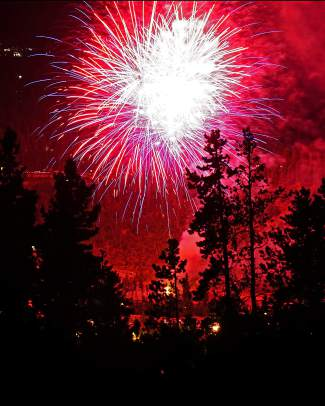 Independence Day fireworks are set off over Breckenridge Monday, July 4, 2016.